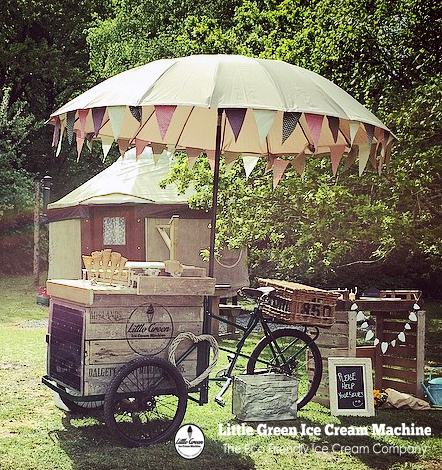 Little green ice cream machine icecream bike hire Devon
